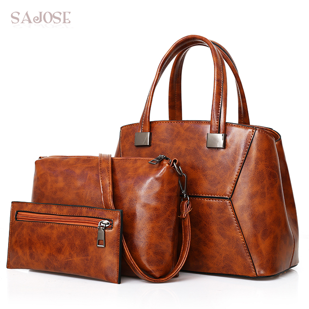 3 Sets Pu Leather Women Bag High Quality Vintage Casual Female Handbags Large Capacity Composite Bag Big Women Shoulder Bags casual women shoulder bags high quality leather knitting female big tote bags for ladies handbag large capacity composite bag