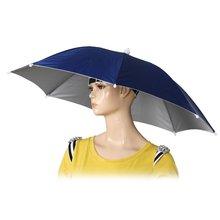 26″ Diameter Elastic Band Fishing Headwear Umbrella Hat Dark Blue