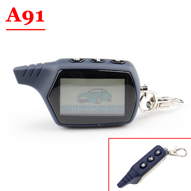 HOT (1PCS) A91 2-way LCD Remote Control Key Fob For Russian Anti-theft Vehicle Security Two way Car Alarm System Starline A91