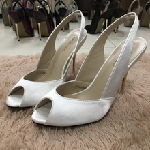 Women Stiletto Thin Iron High Heel Sandals Sexy Sling Back Peep Toe Ivory Satin Party Bridal Ball Lady Shoe 3845-g8