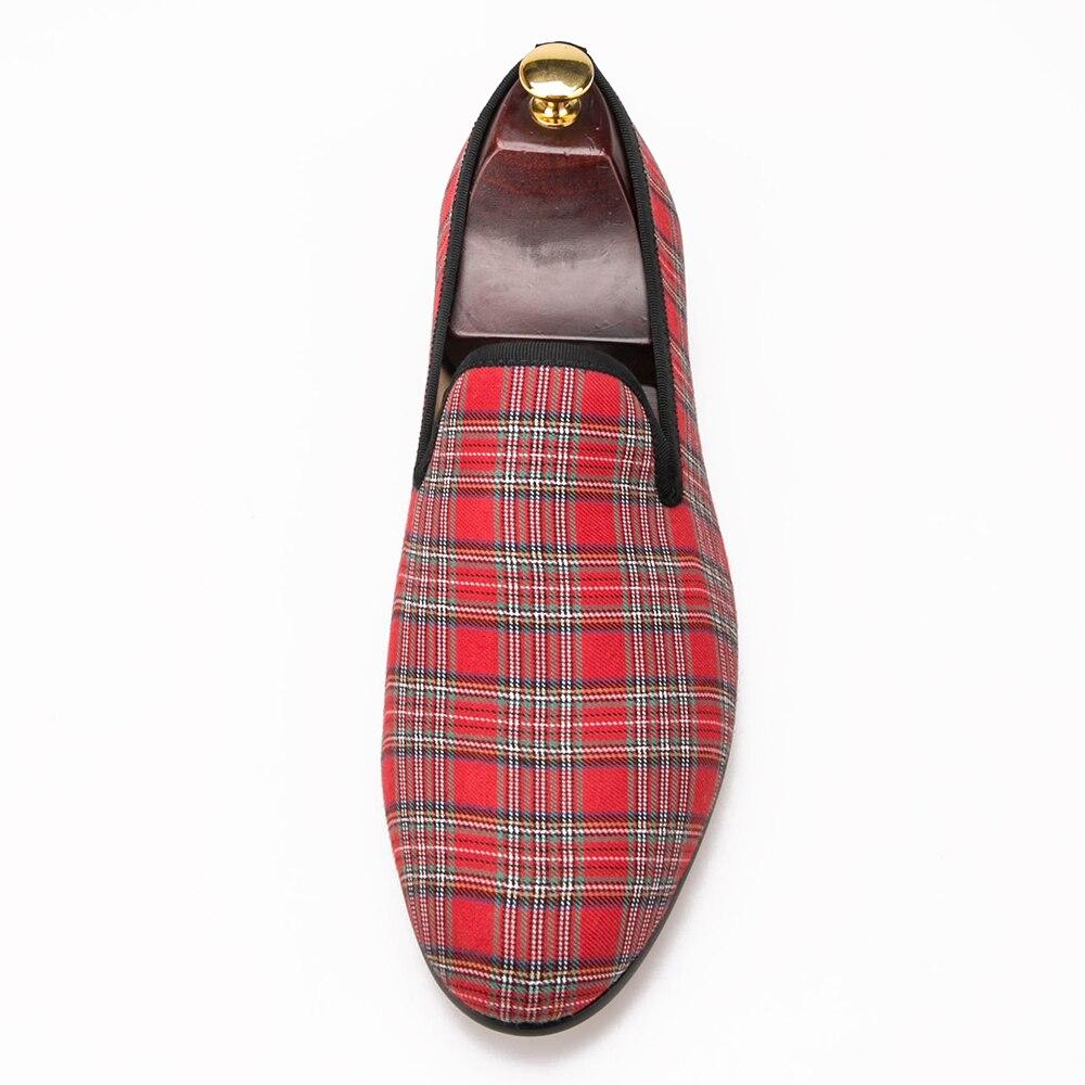 Piergitar 2017 nouveau fait à la main écossais Plaid hommes tissu chaussures flâneurs occasionnels hommes hommes grande taille appartements taille US 4 17 livraison gratuite-in Chaussures décontractées homme from Chaussures    3