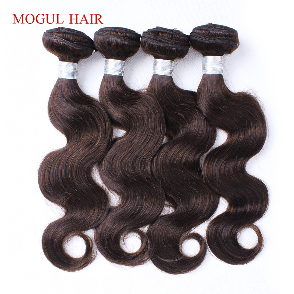 MOGUL HAIR Color 2 Dark Brown Body Wave Bundles Indian Non Remy Human Hair Extensions 3/4 Bundles Colored Hair Weave