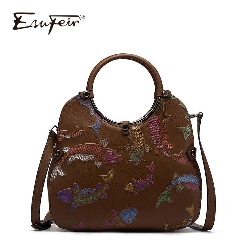 ESUFEIR Bags for Women 2018 Luxury Brand Genuine Leather Women Handbag Vintage National Wind Embossed Shoulder
