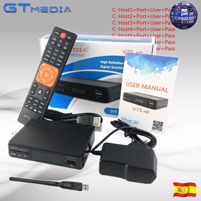 DVB-S2 Satellite TV Receiver Freesat V7S 1 Year Europe clines GTmedia V7 HD Decoder for Spain Germany Portugal Include USB Wifi
