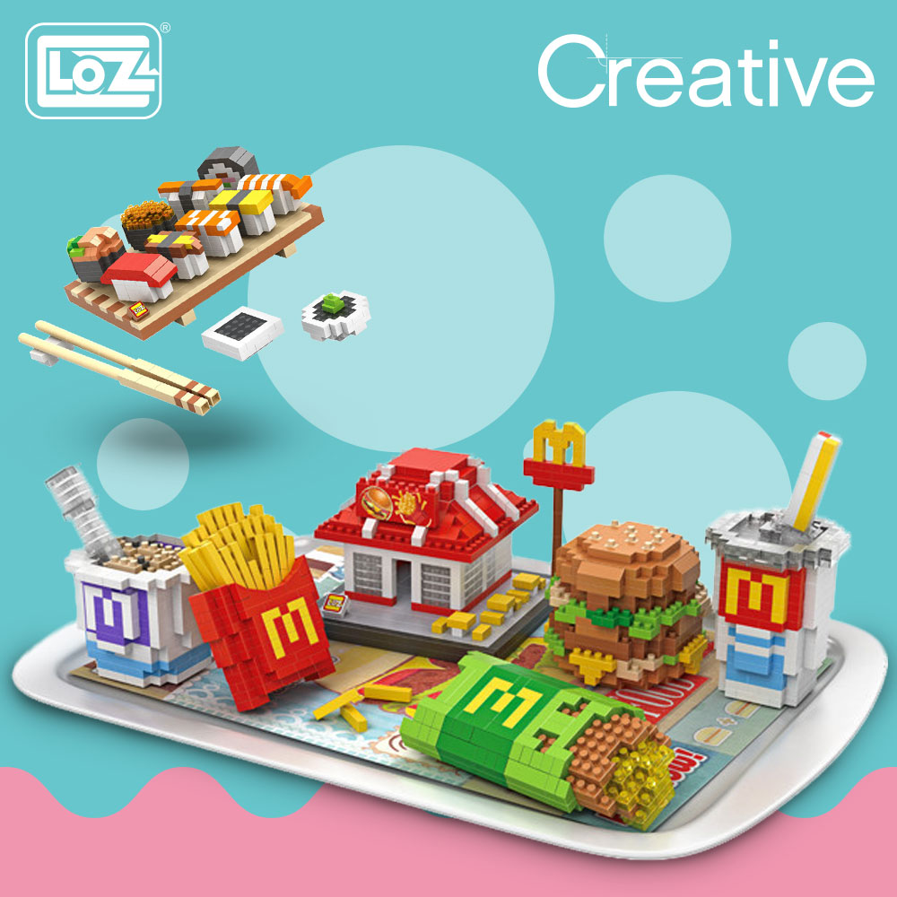 LOZ Diamond Blocks Fast Food Moon Cake Sushi Set Meal Mini Building Blocks Kids Bricks Creator Assembly Toys Kids Children DIY