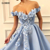 LORIE 2019 Prom Dresses off the shoulder Prom Dresses Flowers Appliques Beautiful Princess dress Tulle Backless robe de soiree