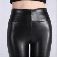 L 5XL Plus Size Autumn Winter Leather Legging Women High Waist Leggings Stretch Slim Black Legging PU Leather Pencil Pants Women