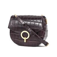 2019 New Women Designer Saddle Bags Handbags and Purses Genuine Leather Alligator Messenger Round Shoulder Bag Bolsa Mujer GL009
