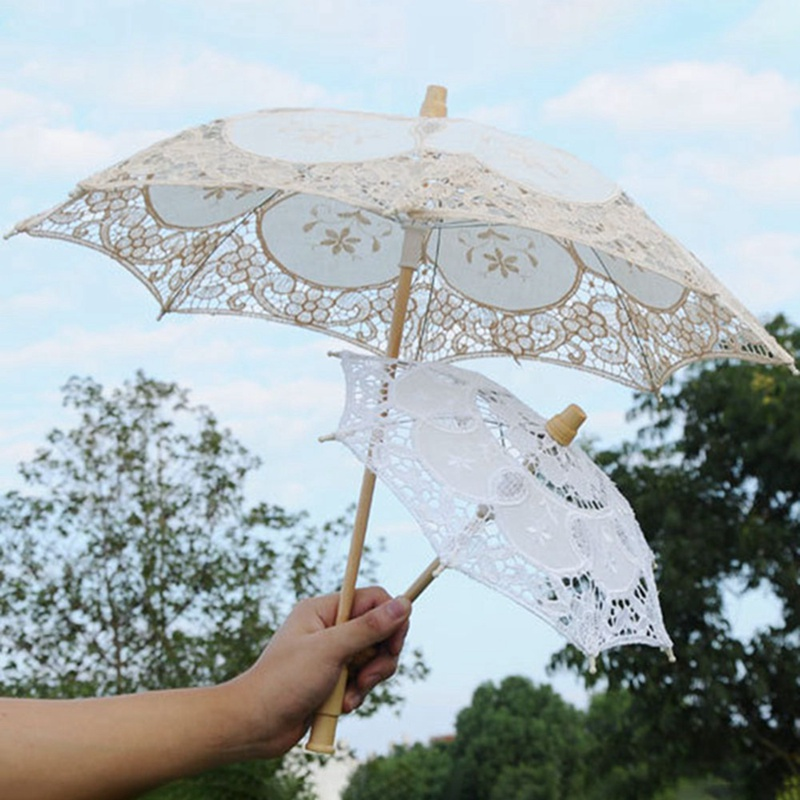 Bridal-Umbrella Parasol Sombrilla Lace Flower-Girl Wedding Vintage White Little Kids