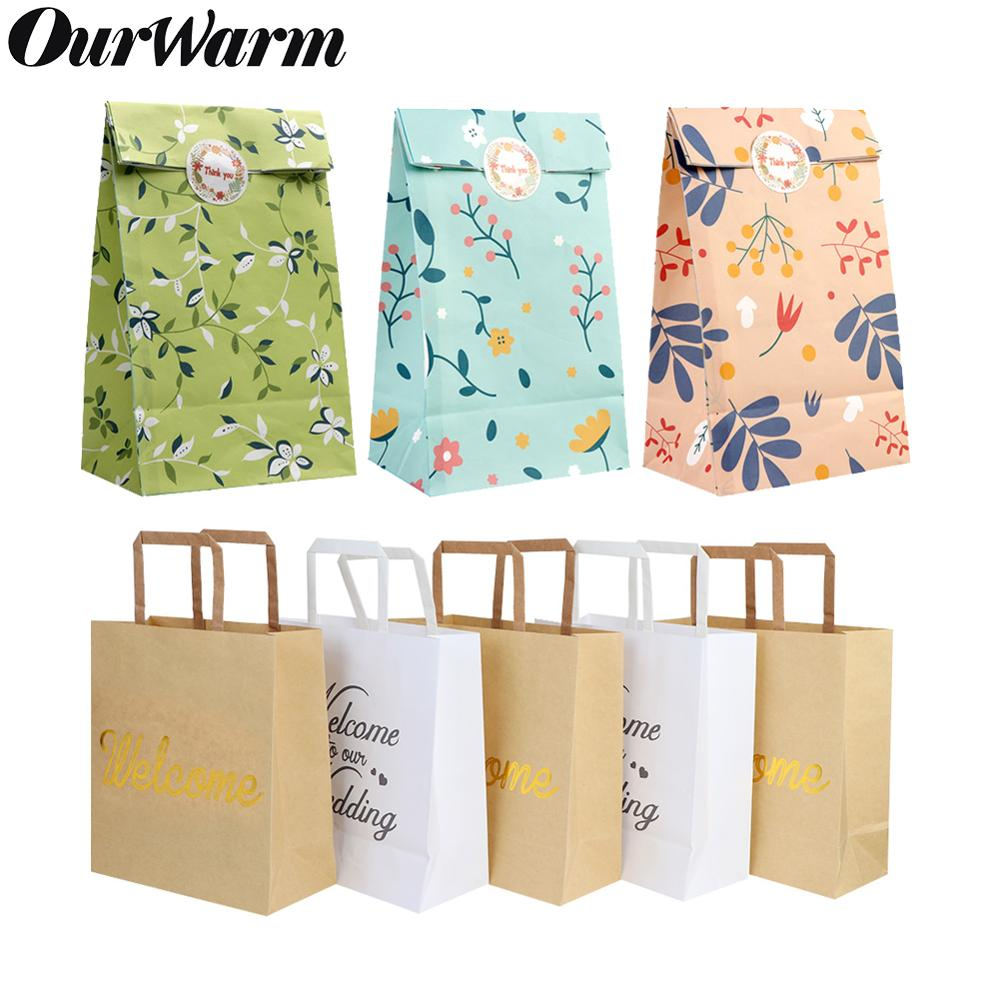 OurWarm Floral Party Favor Welcome Paper Gift Bags With Handles Flower Print Kraft Bag For Wedding Birthday Baby Shower Decor