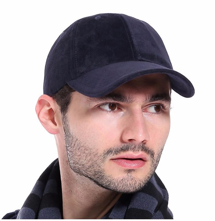Model Wearing the Dark Blue Soft Corduroy Baseball Cap