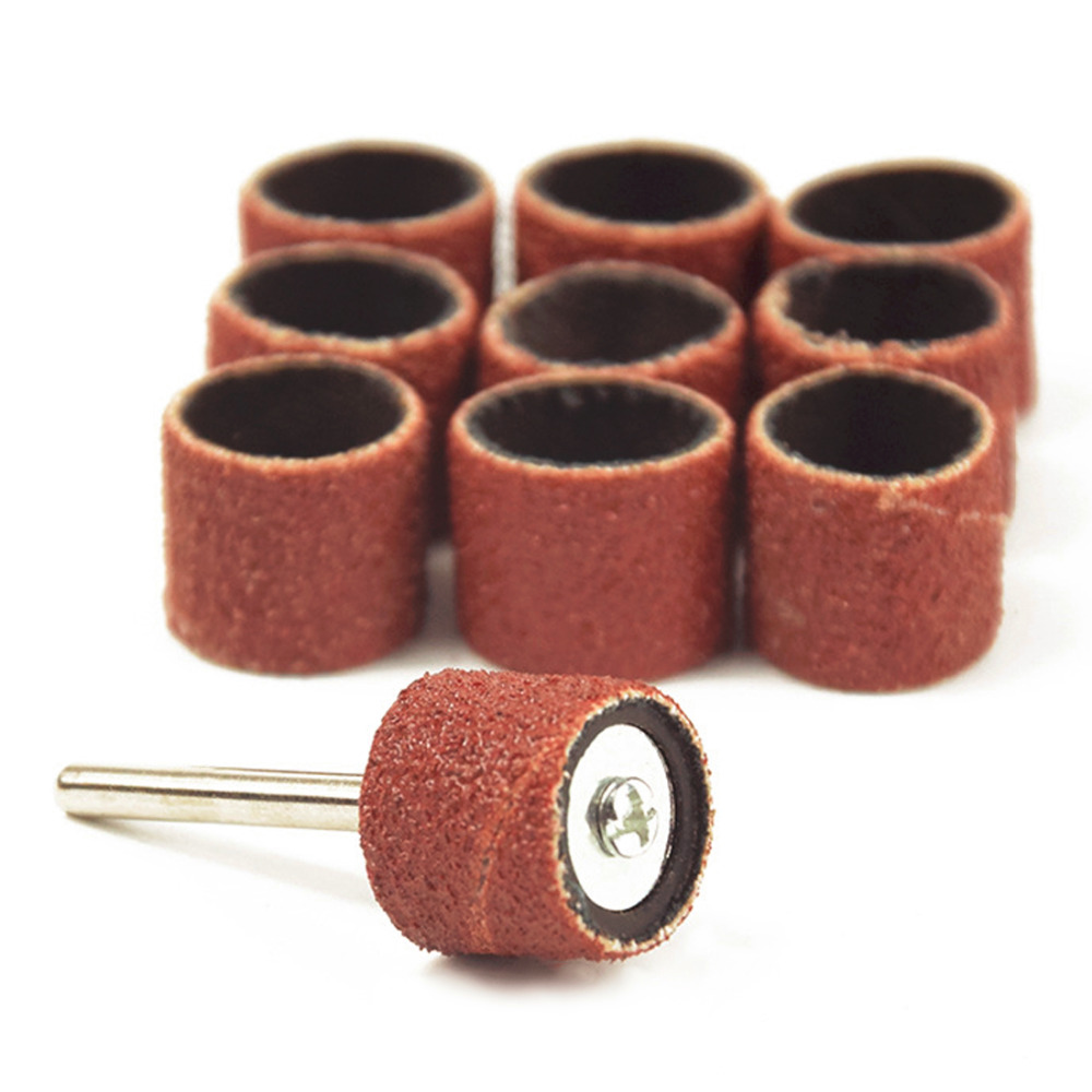 10Pcs Drum Sanding Kit Wheel Set Dremel Accessories Grit 80# 12.5mm 1Pc Sand Mandrel 3.17mm Compatible for Rotary Tool