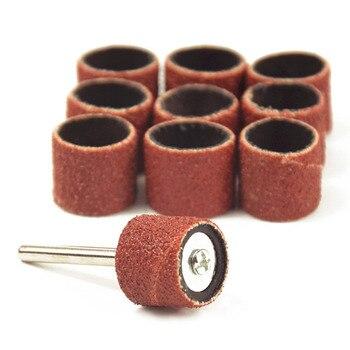 ¡Oferta! 10 Uds dremel accesorios grait 80 # bandas de lijado + 3,17mm tambor de lijadora mandril rotativo herramienta de taladro de uñas Bits herramientas eléctricas