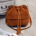 Wholesale Price! Women Messenger Bucket Bag Faux Suede Leather Handbag Strings Closure Fashion Tassels Fringes Crossbody Bolsos