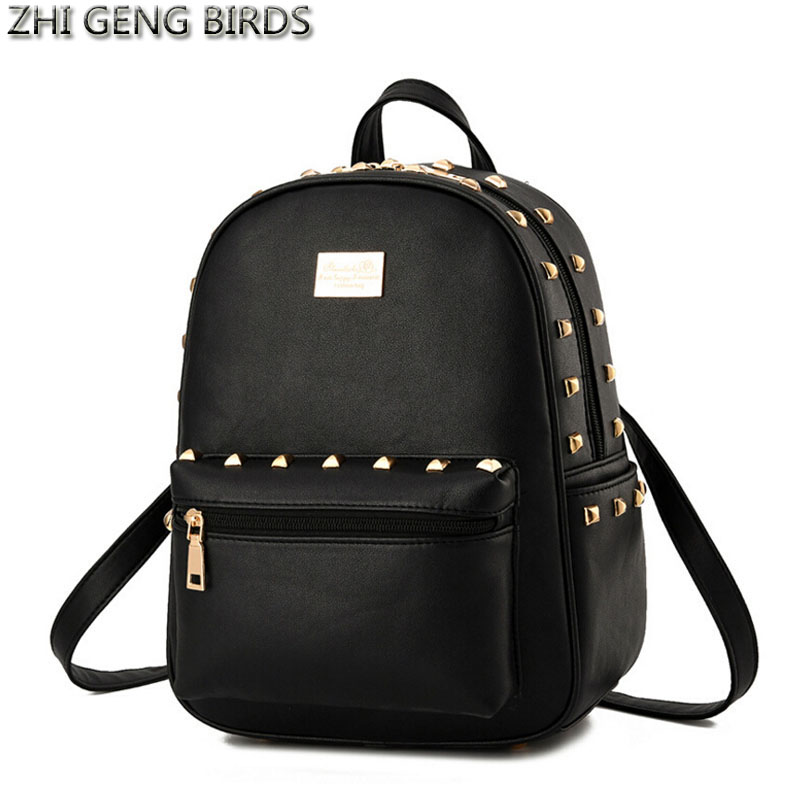 ZHI GENG BIRD Design Fashion Black Leather Backpack Women Rivet School Bag Girl Lady Casual Small