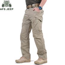AFS JEEP marka IX9 mężczyzn miasto taktyczne spodnie Multi kieszenie Cargo spodnie wojskowe armii z wieloma kieszeniami spodnie typu casual Pantalon hombre tanie tanio Mężczyźni Pełnej długości Wojskowy Suknem Mieszkanie Elastan COTTON Cargo pants Midweight REGULAR Zipper fly khaki black green dark yellow