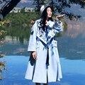 MX139 Новое Прибытие Осенью и Зимой 2016 женщин пальто свободно х долго кисточкой вышитые шерстяное пальто светло-голубой