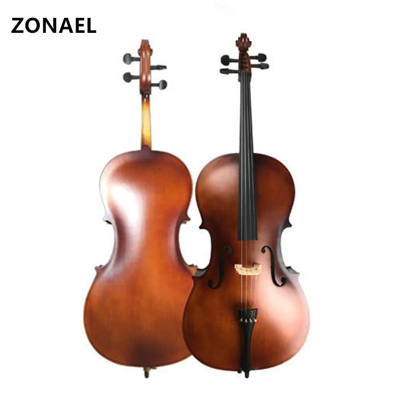 ZONAEL violoncelle bois massif Basswood Face conseil naturel cheval queue arc cheveux avec arc colophane sac de transport musique 2/1 4/1 8/1