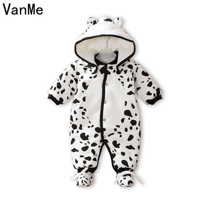 New Baby Winter Romper cotton-padded Cute Cow Dots One Piece Newborn Baby Girl Warm Jumpsuit baby's wear Climb Clothes JP-352 2017 new baby winter romper cotton padded thick newborn baby girl warm jumpsuit autumn fashion baby s wear kid climb clothes