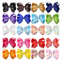 20Pcs Lot Unicorn Shiny Printing Girl Hairpins Boutique Ribbon Hair Clips 6inch Big Bows Party Gift