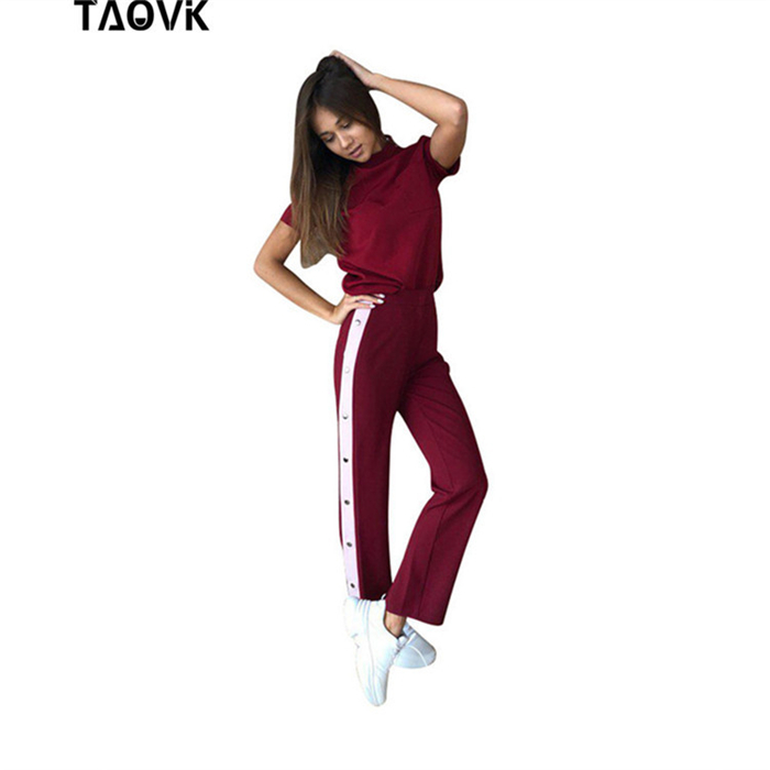 TAOVK Split   Wide  -  leg     Pants   Side Button Up Trousers Loose Casual   Pants     Wide     Leg     Pant