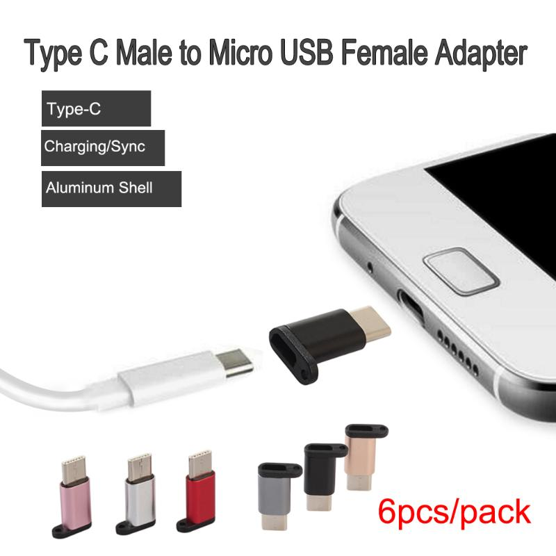 6Pcs Aluminum Alloy USB 3.1 Type C Male to Micro USB Female Adapter Converter Type-c Data Sync Transfer Charger Connector micro usb female to usb 3 1 type c male adapter converter type c usb c data sync transfer charging connector for phone tablet pc