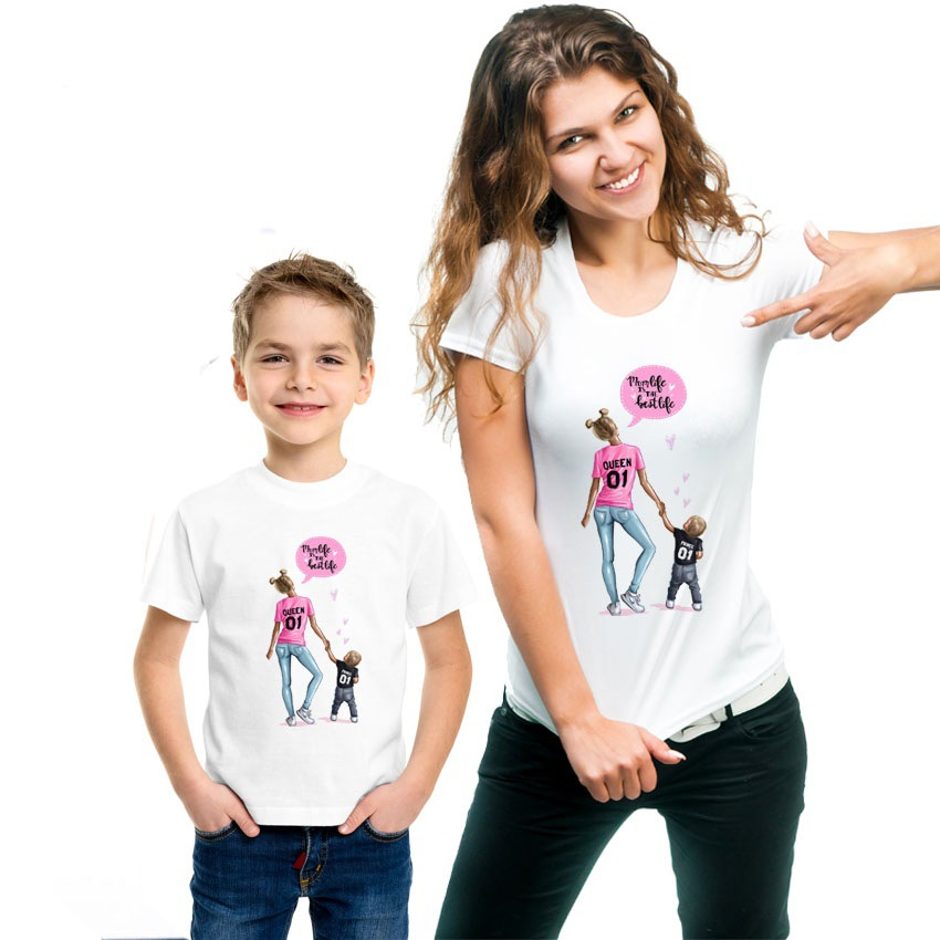 Mother's Printing Informal Mother Child Woman Household Matching T-Shirt Outfit Matching Household Outfits, Low-cost Matching Household Outfits, Mother's Printing Informal Mother Child Woman Household Matching T Shirt Outfit