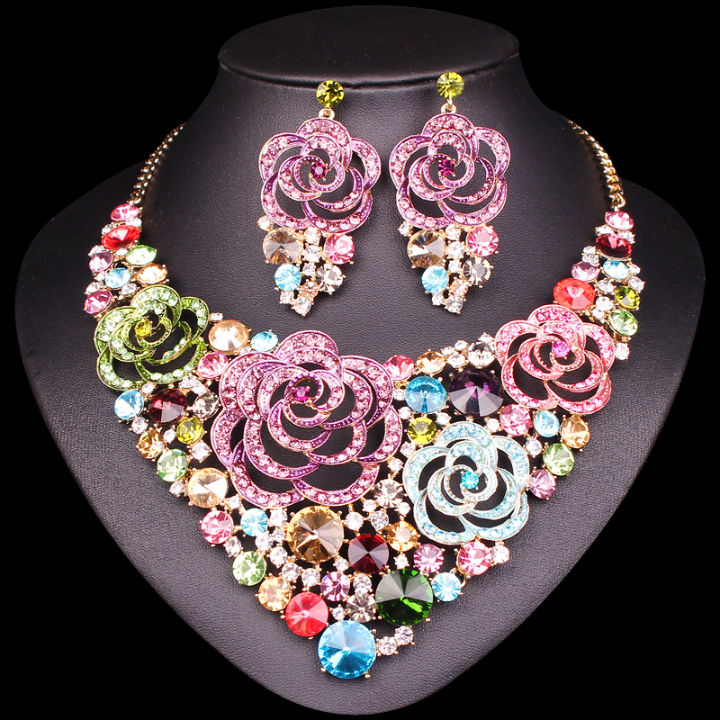 Aliexpress Com Buy New Fashion Necklace Earrings Bridal: Aliexpress.com : Buy New Beautiful Flower Indian Jewellery