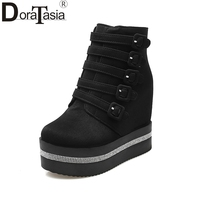 DoraTasia New Arrivals Fashion Platform Winter Shoes Women Casual Zip Up Thick Bottom High Heels Girls Ankle Boots Woman