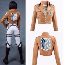 3 pçs ataque em titan cosplay shingeki nenhum kyojin mikasa ackerman cosplay traje jaqueta xale cinto terno shorts de couro conjuntos completos