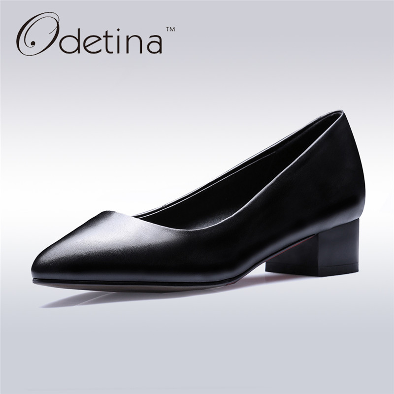 Odetina 2017 Ladies Pointed Toe Genuine Leather Pumps Slip on Chunky Heel Dress Pumps Work Shoes For Women Mid Heel Big Size 42 nayiduyun women genuine leather wedge high heel pumps platform creepers round toe slip on casual shoes boots wedge sneakers