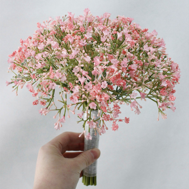 White Pink Real Touch Babysbreath Small Bouquet Wedding Home Decoration Flowers Fl