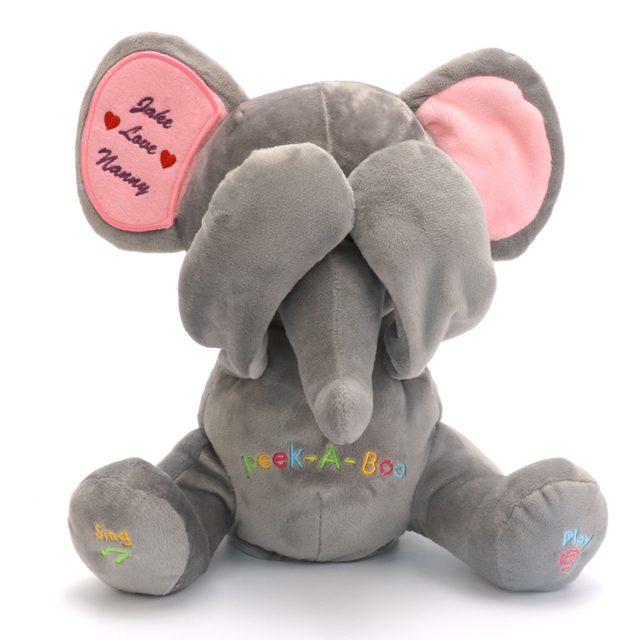 Ücretsiz Kargo Peek A Boo Fil, Dolması animasyonlu ve özel nakış peluş oyuncak, singing Bebek Müzik Oyuncak Çocuk Hediye Için