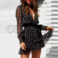 CUERLY Sexy black mesh women dress V neck ruffled winter dress Elegant elastic polka dot Long sleeve party dress vestidos цена и фото