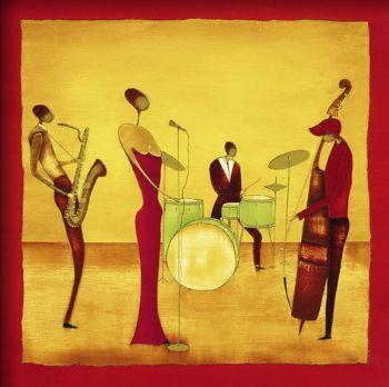 Hande Peinture à Lhuile Peinte Jazz Band Musique Peinture à Lhuile