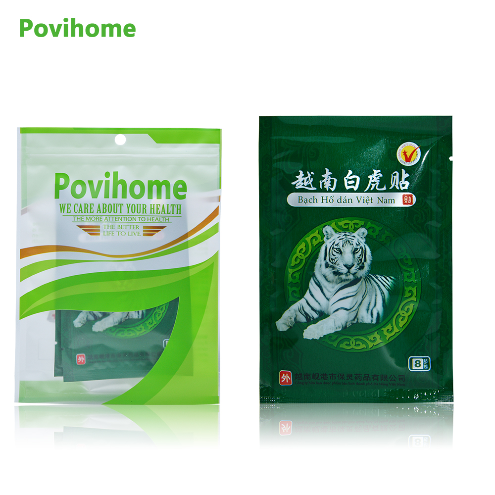 Povihome 48Pcs Vietnam White Tiger Muscle Pain Relief Patch Herbs Plaster Joint Pain Killer Back Neck Body Massager D0965 10 pcs 100% herbal zb pain relief patch orthopedic plaster muscle massage relaxation herbs medical health care joint pain killer