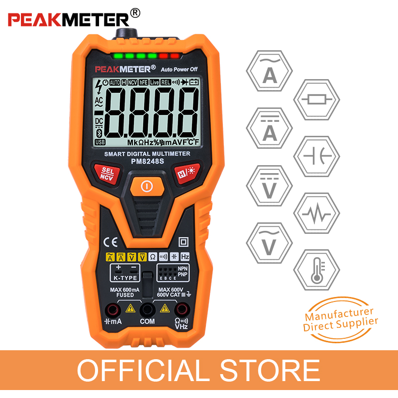 PM8248S Smart AutoRange Numérique Professionnel Multimètre Voltmètre avec NCV Fréquence Rétro-Éclairage Température Transistor test