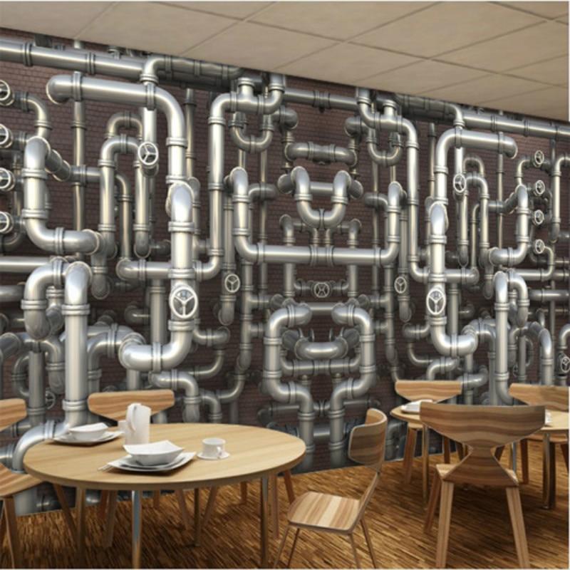 Custom industrial wind pipe loft brick wall personalized 3D wallpaper 3D wallpaper shop casual cafe bar ktv large mural