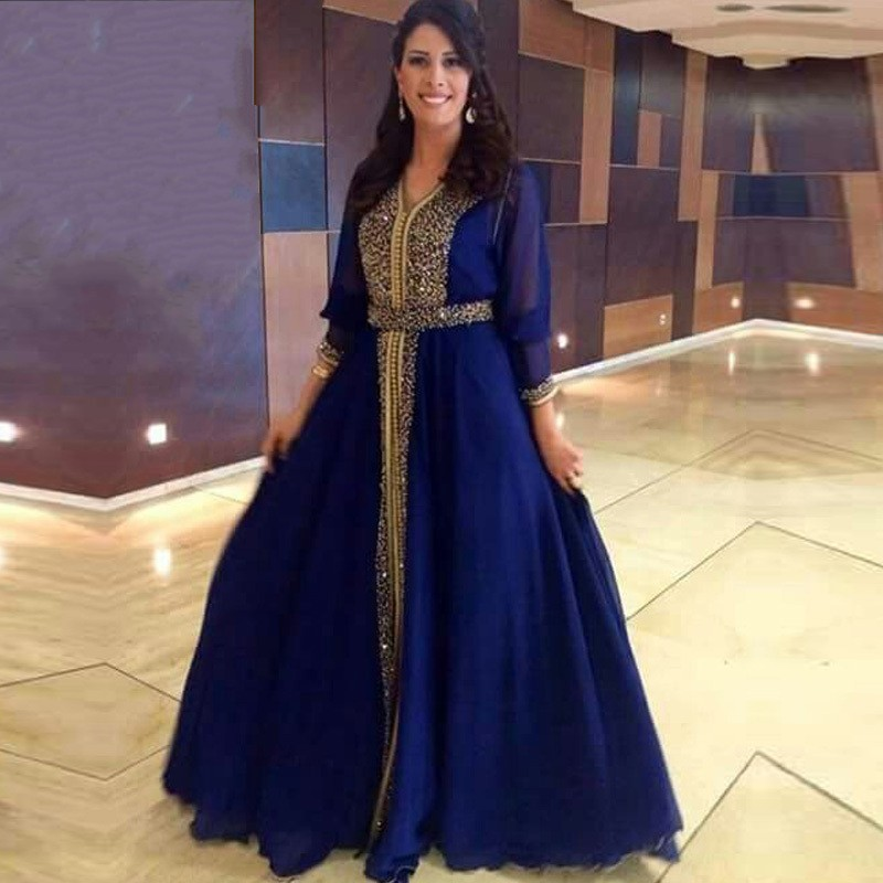 Elegant Saudi Arabia Long Sleeve Evening 2018 V-Neck Luxury Beaded Muslim Caftan Blue Party Gown Mother Of The Bride Dresses