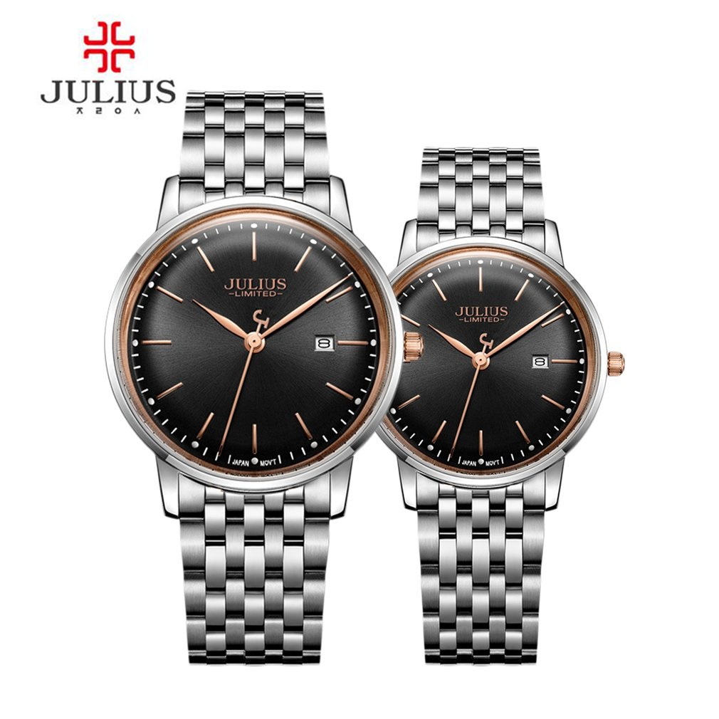 JULIUS Original Design Lover's Quartz Watch Ultra Thin Limited Edition Simple Slim Dial Auto Date Full Steel Montre Clock 2pm gentelmen s game monograph limited release date 2016 11 30