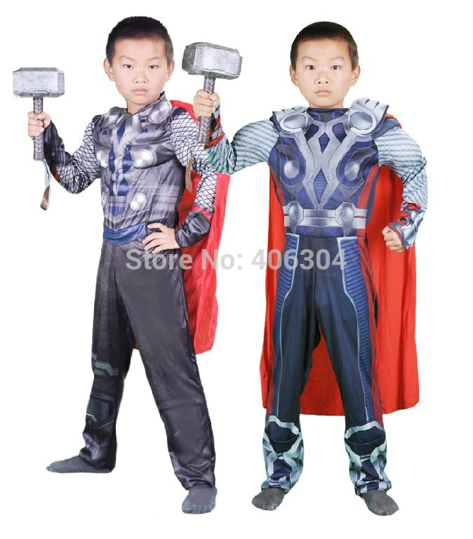 Free shipping,Avengers Movie-Boys thor costume Thor muscle party clothes Thor clothing kid for 2-12 old