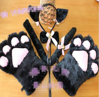 Drop Shipping New Anime Cosplay Costume Cat Ears Plush Paw Claw Gloves Tail Bow Tie 1