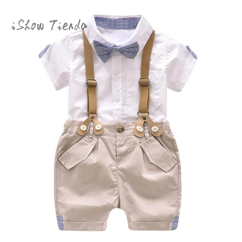 baby boy clothes summer Gentleman Bowtie Short Sleeve t Shirt for boy top+Suspenders Shorts baby boy set baby boy outfit suit baby set baby boy clothes 2 pieces