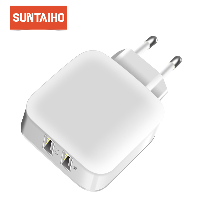 Suntaiho For iPhone/Samsung/Xiaomi /iPad/Huawei Travel Dual USB Charger Adapter Wall Portable Mobile Phone Charger EU Plug
