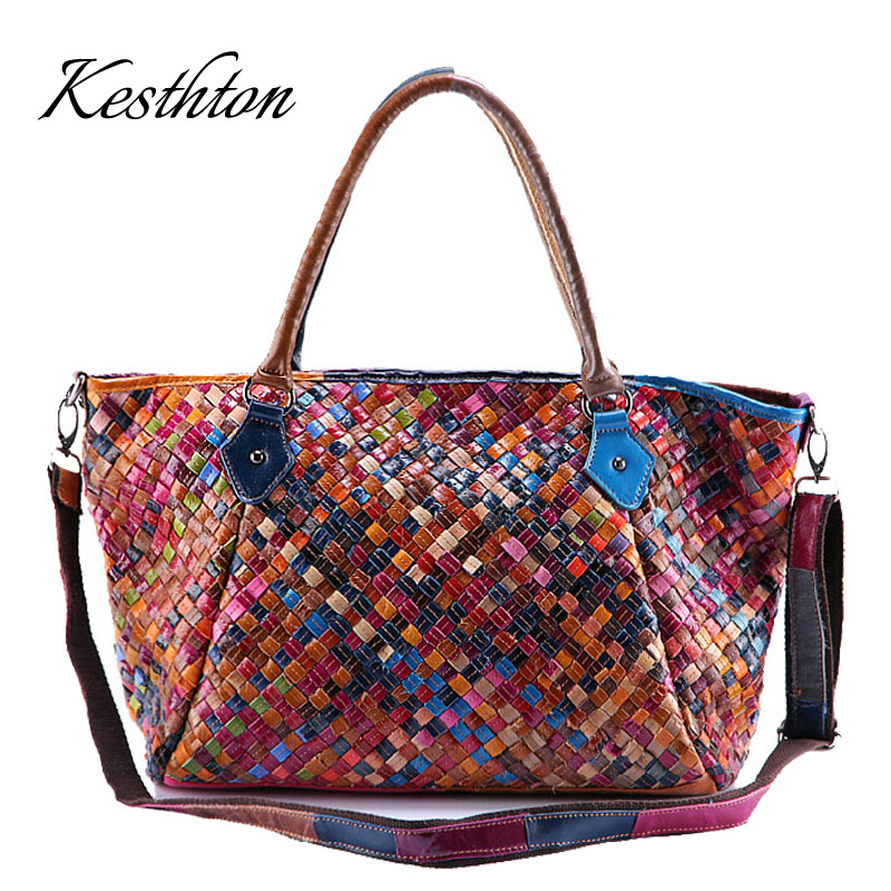 Kesthton handmade knitting women tote bags colored genuine leather cow female handbags large capacity 2019 big messenger bagsKesthton handmade knitting women tote bags colored genuine leather cow female handbags large capacity 2019 big messenger bags