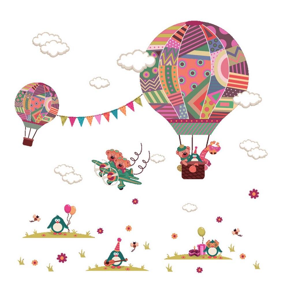 Online Shop Hot Air Balloon Wall Stickers For Kids Children Room Diy  Cartoon Bear Giraffe Wall Decal Poster Children Baby House Mural   Aliexpress Mobile