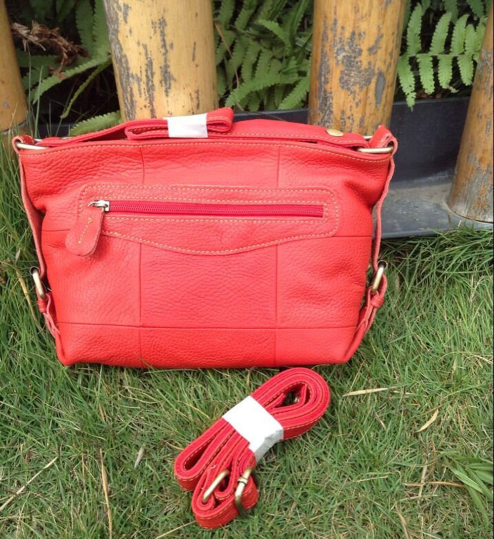 100% real genuine leather women Retro Professional Medium Messenger Red Bags beach tote for ladies free shipping professional gemological for distinguishing real dimaond selector ii