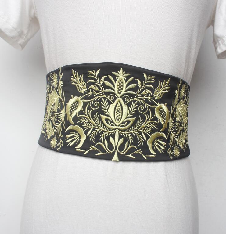 Women's Runway Fashion Embroidery Elastic Satin Cummerbunds Female Dress Corsets Waistband Belts Decoration Wide Belt R1590