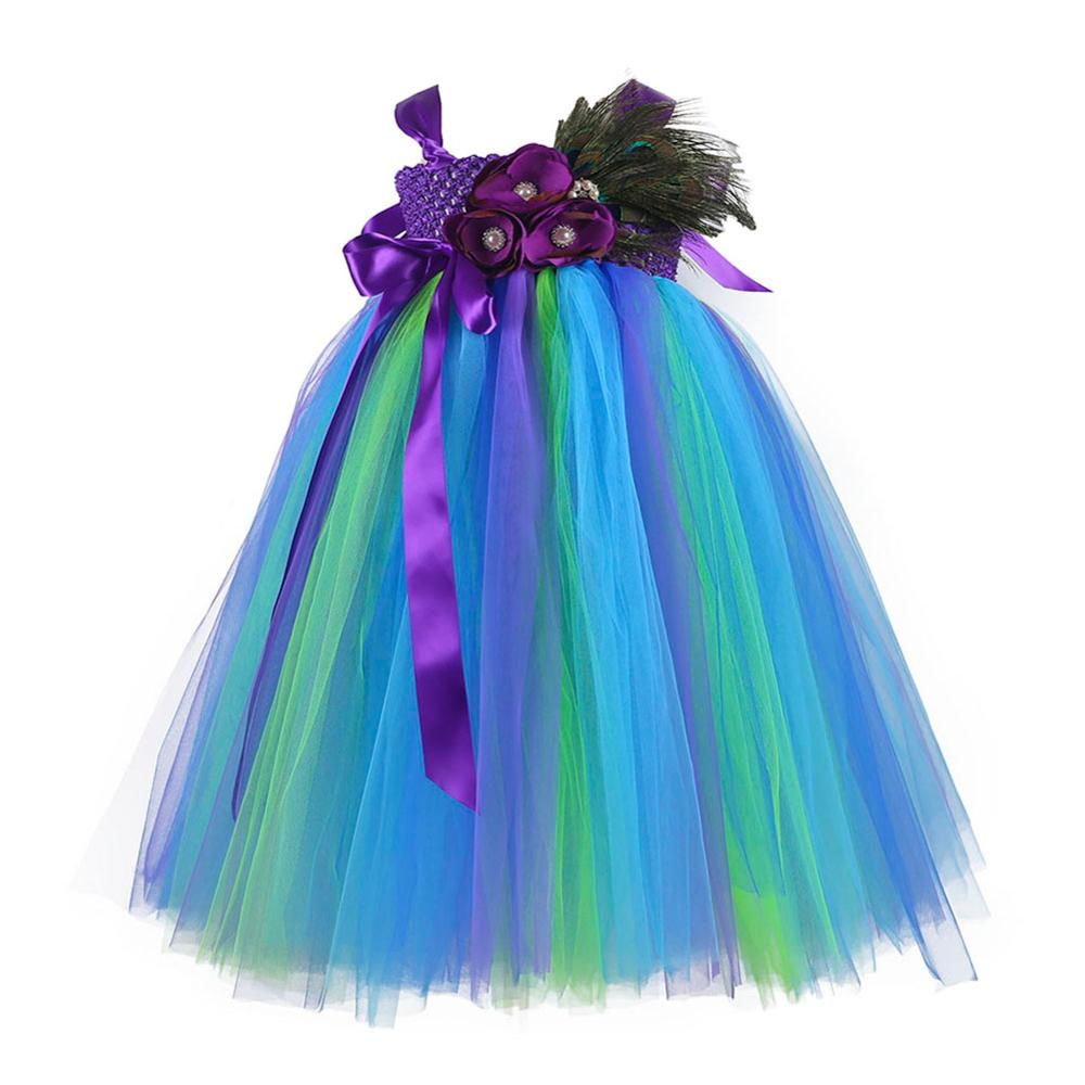 Casual Girls Peacock Party Dresses Age 13 Children Peacock Feather Sleeveless Halloween Costumes for Teens Tutu Dress Ball Gown