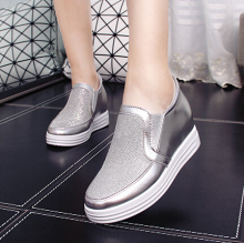 5cm High Heel 2016 Autumn PU Breathable Women s Casual Shoes Silver Platform Loafers Flat Shoes